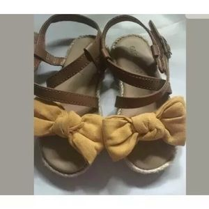 Toddler yellow bow brown buckle dress sandals 5